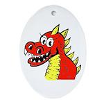 Happy Dragon Oval Ornament