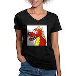 Happy Dragon Women's V-Neck Dark T-Shirt