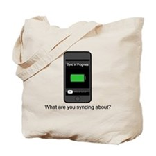 SyncingAbout Tote Bag