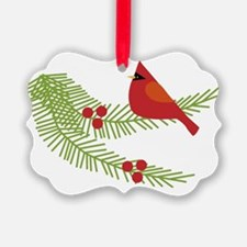 Cardinal Bird on Branch  Ornament