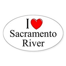 """I Love Sacramento River"" Oval Decal"
