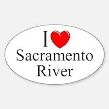 """I Love Sacramento River"" Oval Decal"
