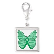 Liver Disease Awareness Silver Square Charm