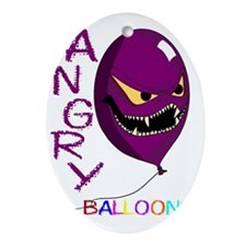 angry ballons purple2 Oval Ornament