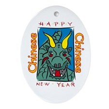 Chinese New Year Dragon Oval Ornament