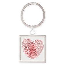 heartfingerprint Square Keychain
