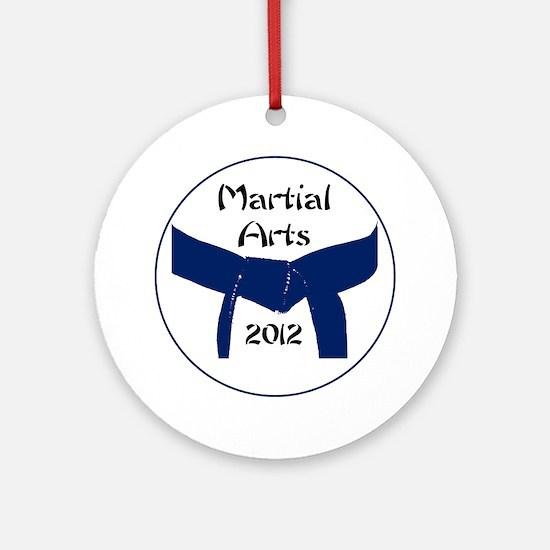 Martial Arts Dark Blue Belt Round Ornament