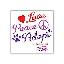 "peace love adopt Square Sticker 3"" x 3"""