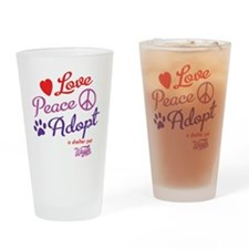 peace love adopt Drinking Glass