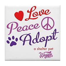 peace love adopt Tile Coaster