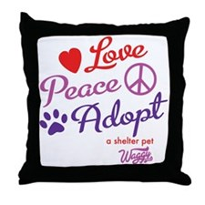 peace love adopt Throw Pillow