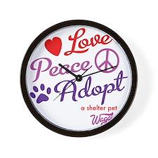 peace love adopt Wall Clock