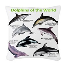 Dolphins of the World Woven Throw Pillow