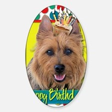BirthdayCupcakeAustralianTerrier Sticker (Oval)