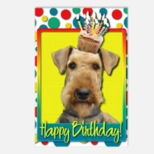 BirthdayCupcakeAiredale Postcards (Package of 8)