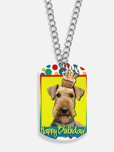 BirthdayCupcakeAiredale Dog Tags