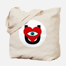 eye_heart_U_black_white_circle Tote Bag