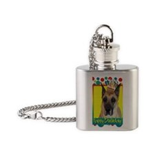 BirthdayCupcakeGreatDane Flask Necklace