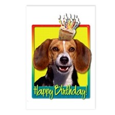 BirthdayCupcakeBeagleHB Postcards (Package of 8)