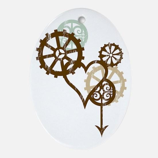 steampunk love Oval Ornament