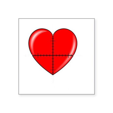 "heart-curve-2-whiteLetters Square Sticker 3"" x 3"""