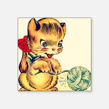 "kitten yarn Square Sticker 3"" x 3"""