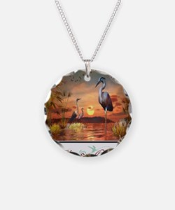 Heron Point Necklace Circle Charm