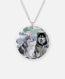 alaskan_malamute_fat quarter Necklace