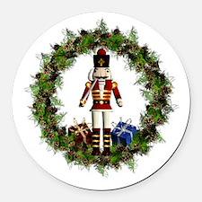 Red Nutcracker Wreath Round Car Magnet