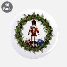 Red Nutcracker Wreath 3.5&Amp;Quot; Button (10 Pac