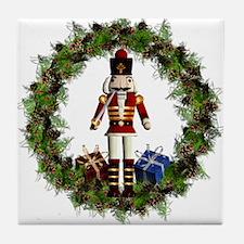 Red Nutcracker Wreath Tile Coaster