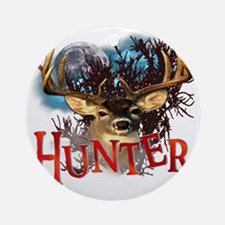 Hunter take your best shot Deer Whi Round Ornament