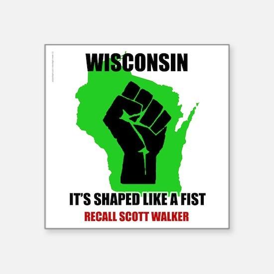 "Wisconsin Scott Walker Square Sticker 3"" x 3"""