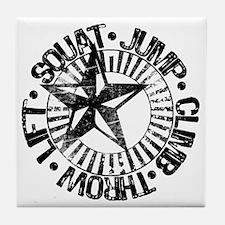 squat_jump_climb_throw_lift2 Tile Coaster