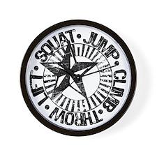 squat_jump_climb_throw_lift2 Wall Clock