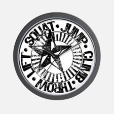 squat_jump_climb_throw_lift2 Wall Clock