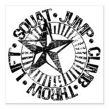 "squat_jump_climb_throw_l Square Car Magnet 3"" x 3"""
