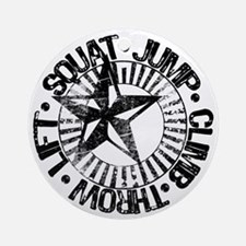 squat_jump_climb_throw_lift2 Round Ornament