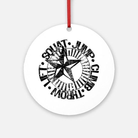 squat_jump_climb_throw_lift2 Round Ornament