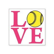 "lt melon2, Softball LOVE Square Sticker 3"" x 3"""
