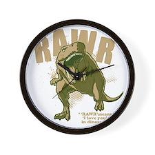 Rawr-Dinosaur-drk Wall Clock