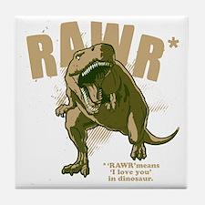 Rawr-Dinosaur-drk Tile Coaster