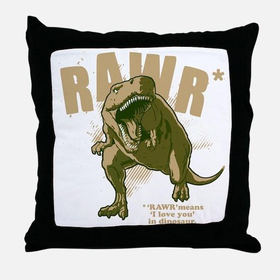 Rawr-Dinosaur-drk Throw Pillow