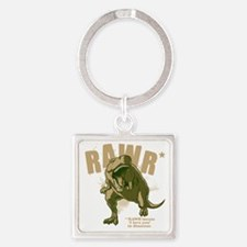 Rawr-Dinosaur-drk Square Keychain
