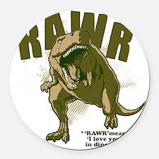 Rawr-Dinosaur Round Car Magnet