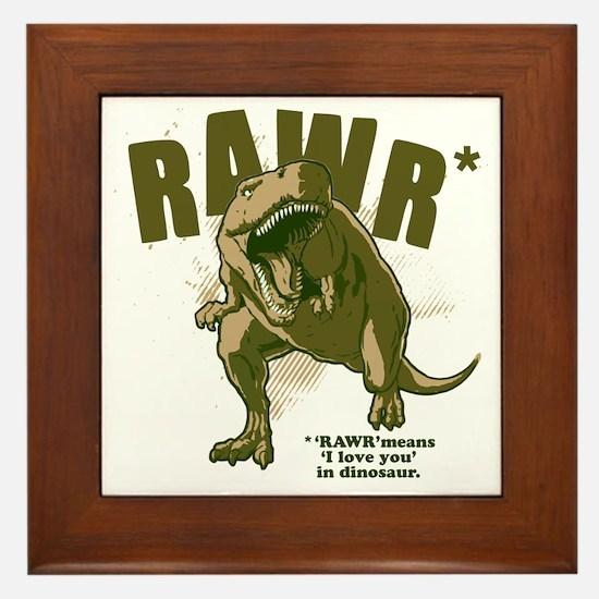 Rawr-Dinosaur Framed Tile