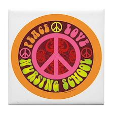 CP - peace love nursing school4 Tile Coaster