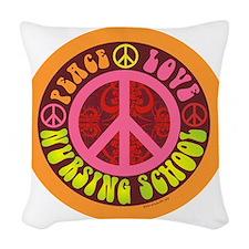CP - peace love nursing school Woven Throw Pillow