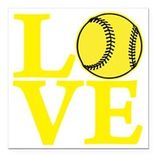 "yellow2, Softball LOVE Square Car Magnet 3"" x 3"""