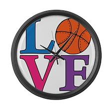 multi, Basketball LOVE Large Wall Clock